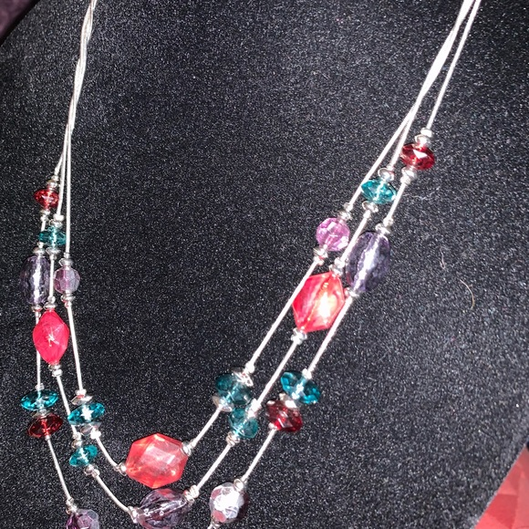 Kim Rogers Jewelry - New KIM ROGER 3-CHAIN BEAD NECKLACE RED PRPL TEAL